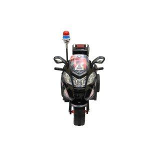 Schwarz-Rot Police Design 015-6V Akku Elektro Kindermotorrad